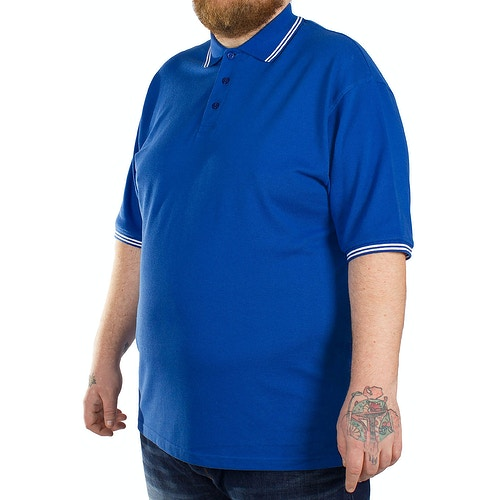 Bigdude Polo Shirt With Contrast Tipping Detail - Royal Blue