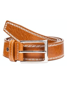 Mark Leather Contrast Stitch Detail Belt Tan