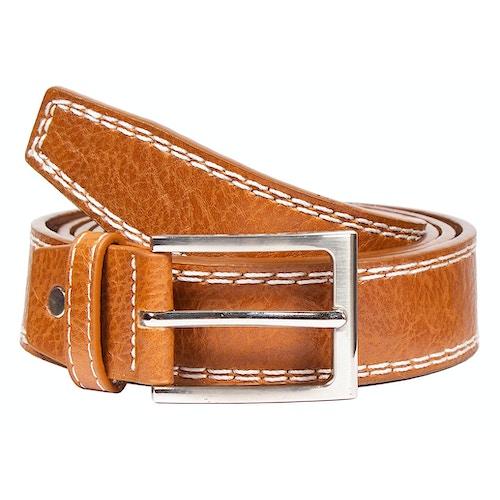 Mark Leather Contrast Stitch Detail Belt Tan