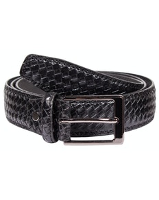 Matthew Leather Woven Effect Belt Black