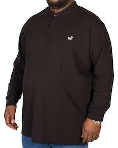 Bigdude Embroidered Long Sleeve Polo Shirt Black