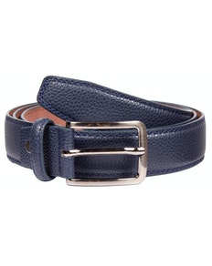 David Leather Stitch Detail Belt Navy