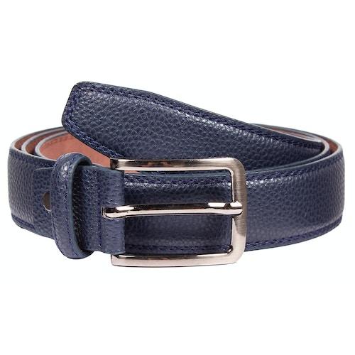David Leather Stitch Detail Belt Navy