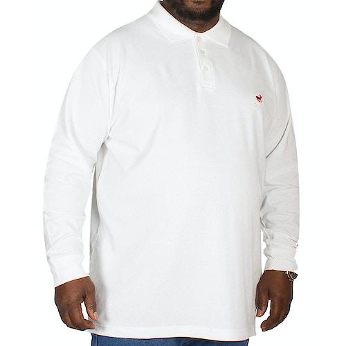 Bigdude Langarm Poloshirt Weiß