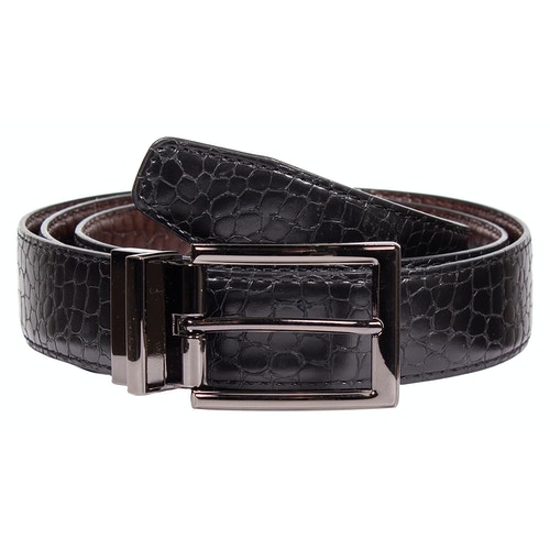 Albert Leather Snakeskin Reversible Belt Black/Brown
