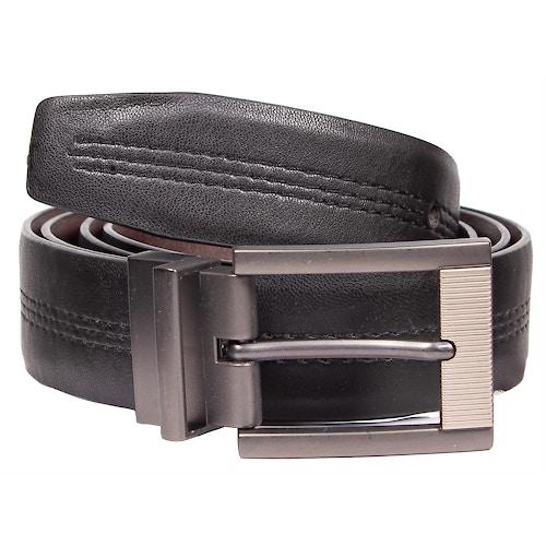 William Leather Stitch Detail Reversible Belt Black/Brown
