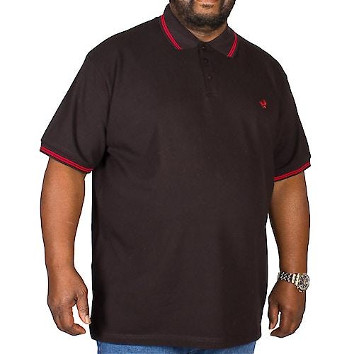 Bigdude Poloshirt Schwarz / Rot Tall Fit