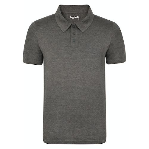 Bigdude Jersey Poloshirt mit Brusttasche Grau