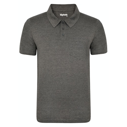 Bigdude Jersey Polo Shirt With Pocket Charcoal Tall