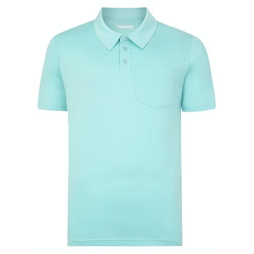 Bigdude Jersey Poloshirt mit Brusttasche Türkis Tall Fit