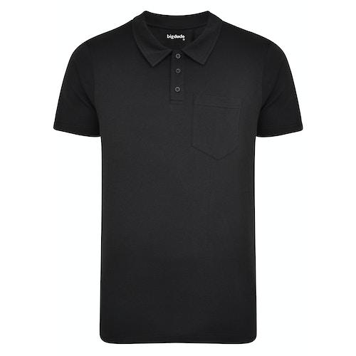 Bigdude Jersey Poloshirt mit Brusttasche Schwarz Tall Fit