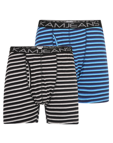KAM Twin Pack Stripe Boxer Shorts Black/Navy