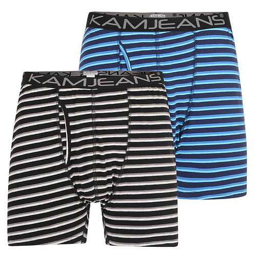 KAM Twin Pack Stripe Boxer Shorts Black/Navy