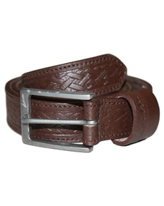 KAM Leather Basket Weave Pattern Belt Brown