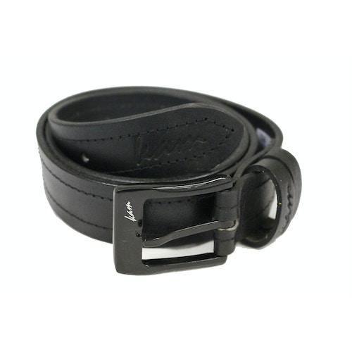 KAM Leather Stitch Pattern Belt Black