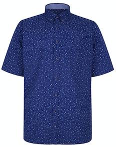 KAM Premium Dobby Print Kurzarmhemd Blau