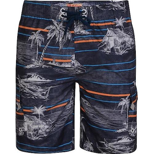 KAM Palm Print Swim Shorts Charcoal