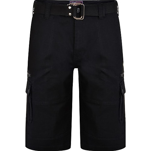KAM Belted Stretch Cargo Shorts Black