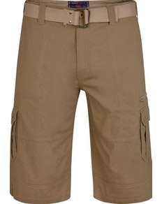 KAM Belted Stretch Cargo Shorts Sand