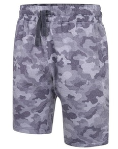KAM Camo Print Jogger Shorts Indigo
