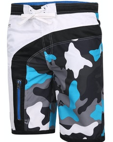 KAM Contrast Panel Camo Print Swimmers Black