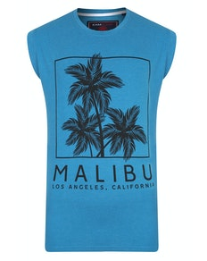 KAM Malibu Print Sleeveless T-Shirt Turk Blue