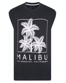 KAM Malibu Print Sleeveless T-Shirt Charcoal