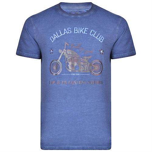 KAM Dallas Bike Club Printed T-Shirt Blue