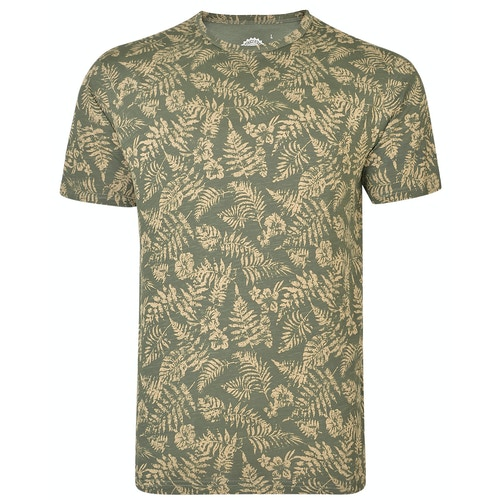 KAM Floral Print Slub T-Shirt Khaki