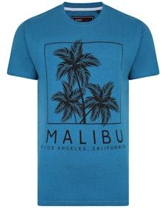KAM Malibu Print Marl T-Shirt Turk Blue