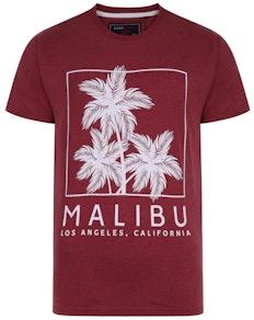 KAM Malibu Print Marl T-Shirt Burgundy