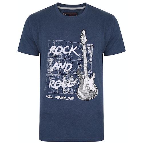 KAM Guitar Print Marl T-Shirt Insignia