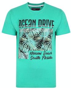 KAM Ocean Drive Print T-Shirt Emerald