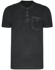 KAM Acid Wash Grandad Collar T-Shirt Black