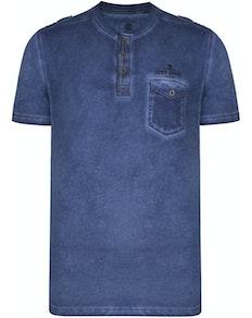 KAM Acid Wash Grandad Collar T-Shirt Indigo