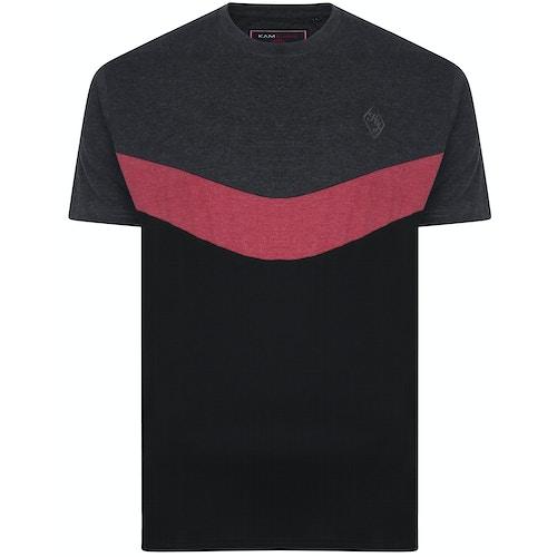 KAM Contrast Panel Chevron T-Shirt Charcoal