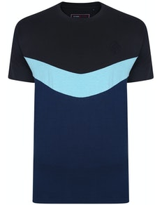 KAM Contrast Panel Chevron T-Shirt Navy