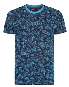KAM Floral Print T-Shirt Turk Blue