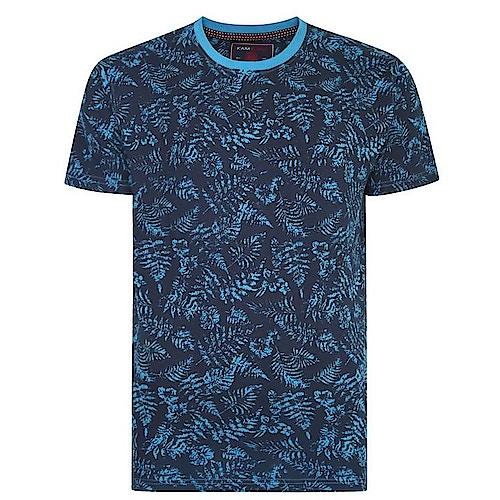KAM Blumen Print T-Shirt Türkis