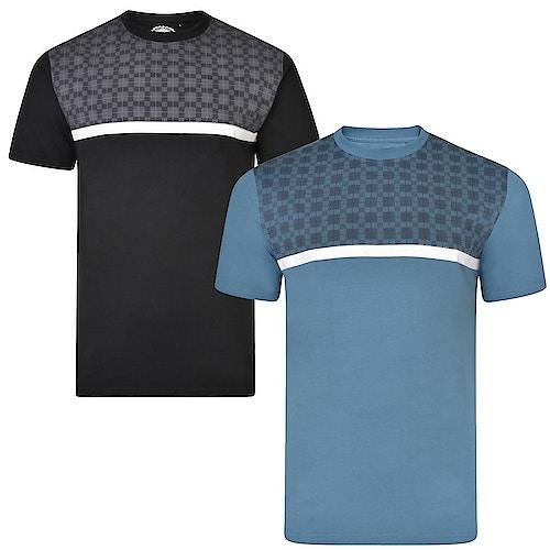 KAM Doppelpack Karo T-Shirts Schwarz/Jeansblau
