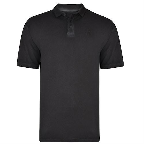 KAM Acid Wash Polo Shirt Schwarz