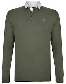KAM Contrast Collar Polo Shirt Khaki