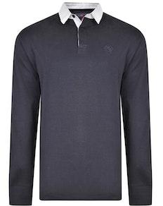 KAM Contrast Collar Polo Shirt Navy