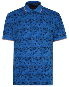KAM Floral Print Polo Shirt Blue