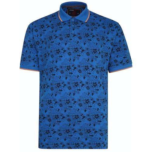 KAM Blumen Print Poloshirt Blau