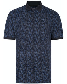 KAM Guitar Print Polo Shirt Midnight