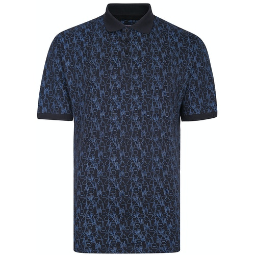 KAM Gitarren Print Poloshirt Blau