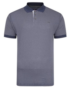 KAM Dobby Slub Weave Polo Shirt Blue