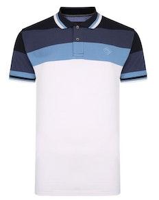 KAM Contrast Stripe Polo Shirt Blue