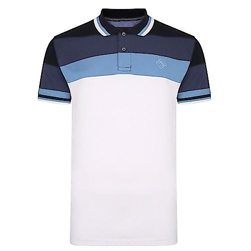 KAM Kontraststreifen Poloshirt Blau